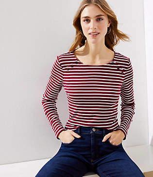 LOFT Petite Striped Sailor Long Sleeve Shirttail Tee