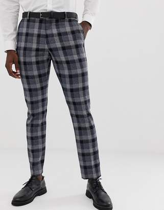 Selected Navy Check Suit PANTS In Slim Fit
