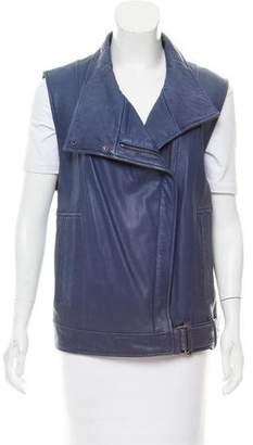 Helmut Lang Leather Moto Vest