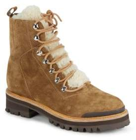Shearling Lace-Front Ankle-Top Boots $495 thestylecure.com