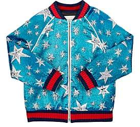 Gucci Kids' Starry Sky Sequined Bomber Jacket - Blue