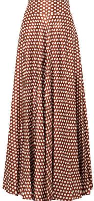 Diane von Furstenberg Polka-dot Silk-satin Maxi Skirt - Brown