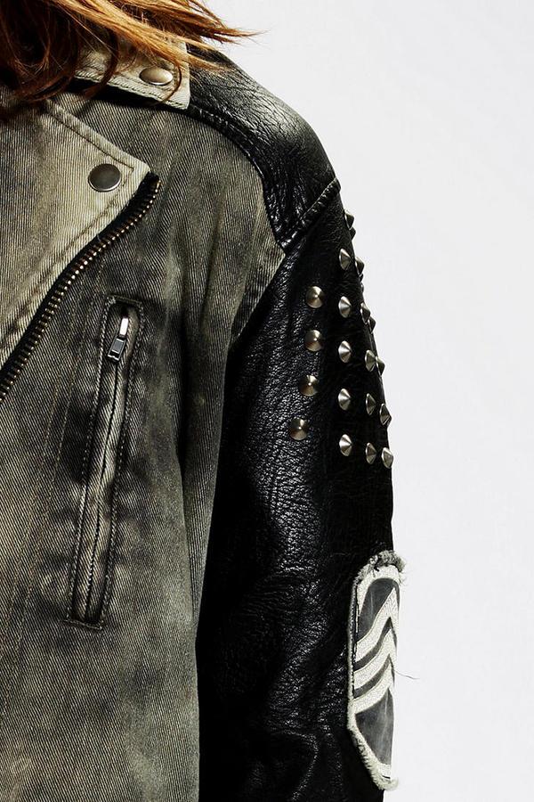 Silence & Noise Silence + Noise Oversized Studded Moto Jacket