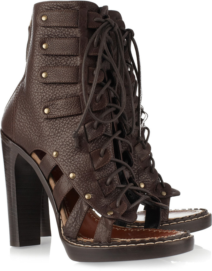 Proenza Schouler Cutout lace-up leather ankle boots