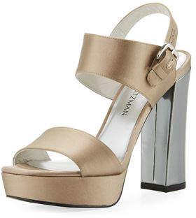 Stuart Weitzman Partisan Satin Block-Heel Sandal