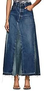 Needles Women's Denim Maxi Skirt-Blue