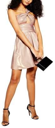 Topshop Foil Twist Shoulder Minidress