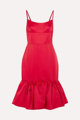 Prada Wool And Silk-blend Satin Peplum Dress - Red