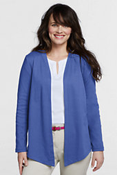 Lands' End Women's Long Sleeve Angled Cardigan-Espresso