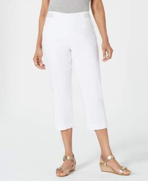 JM Collection Petite Metallic-Detail Tummy-Control Capris, Created for Macy's