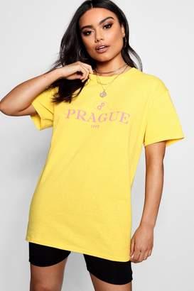 boohoo Lillie Prague Slogan Tee