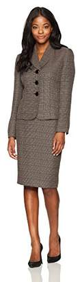 Le Suit Women's Crosshatch Tweed 3 Button Shawl Collar Skirt Suit