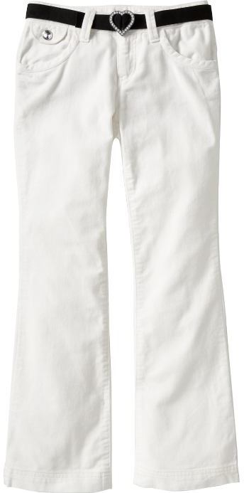 Girls Belted Velveteen Boot-Cut Pants