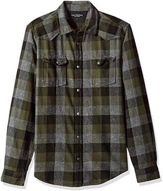 Calvin Klein Jeans Men's Long Sleeve Buffalo Brushed Plaid Button Down Shirt
