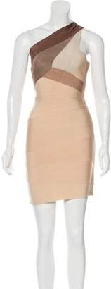 Herve Leger One-Shoulder Bandage Dress