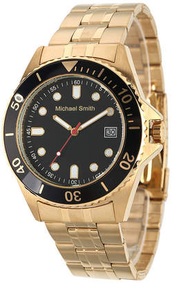 FINE JEWELRY Personalized Mens Gold Tone Black Dial Diver Bracelet Watch