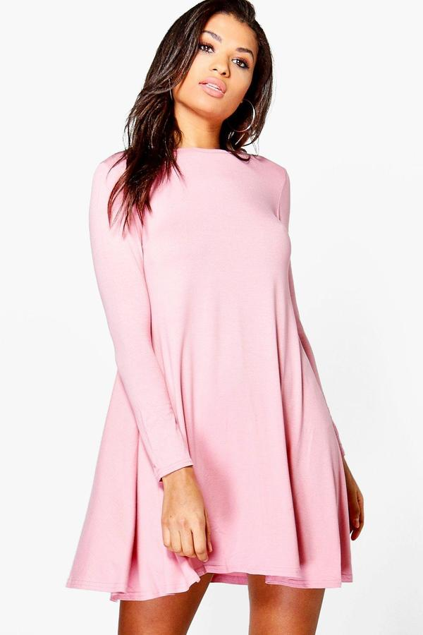 boohoo April Long Sleeve Swing Dress