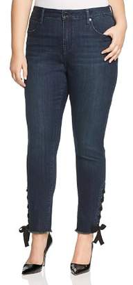 Seven7 Jeans Plus Lace-Up Hem Skinny Jeans in Signal Wash