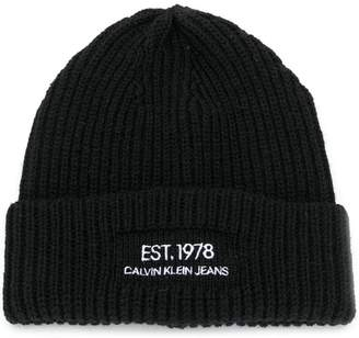 Calvin Klein Jeans Est. 1978 logo embroidered beanie hat