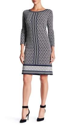 Max Studio 3/4 Sleeve Printed Shift Dress