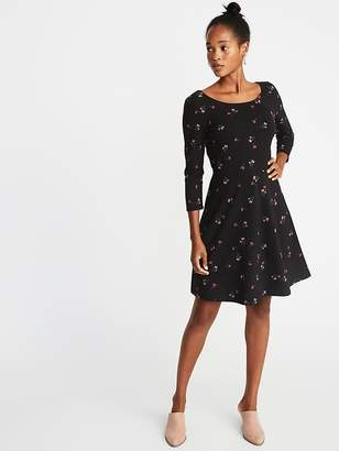 Old Navy Printed 3/4-Sleeve Fit & Flare Dress for Women