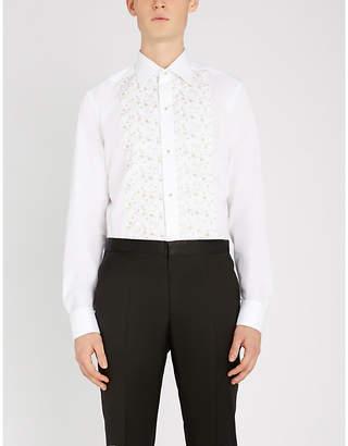 Eton Floral-embroidered slim-fit cotton-blend evening shirt