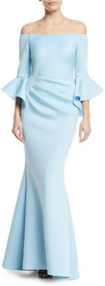Jovani Off-the-Shoulder Trumpet-Sleeve Mermaid Gown