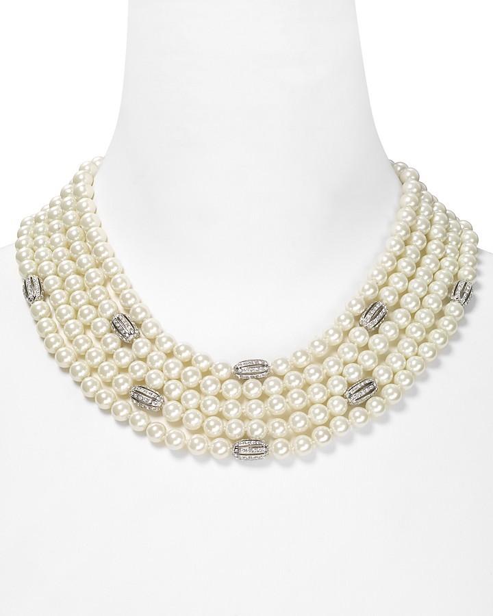 """Lauren Ralph Lauren Five Row Pearl and Crystal Necklace, 20"""""""