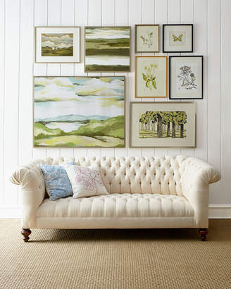 """Old Hickory Tannery Ellsworth Neutral Tufted Sofa 84"""""""
