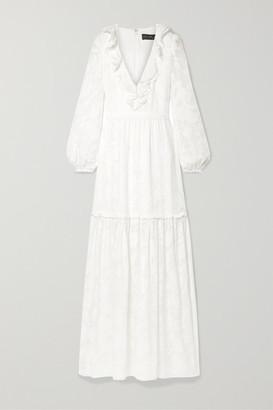 Rachel Zoe Alexis Ruffled Tiered Fil Coupé Silk And Cotton-blend Chiffon Maxi Dress - White