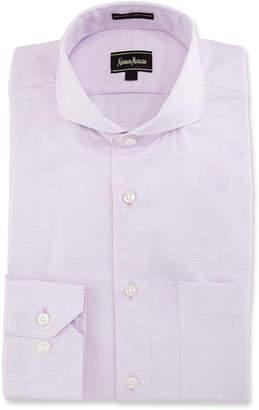 Neiman Marcus Classic-Fit Regular-Finish Mini-Check Dress Shirt, Pink