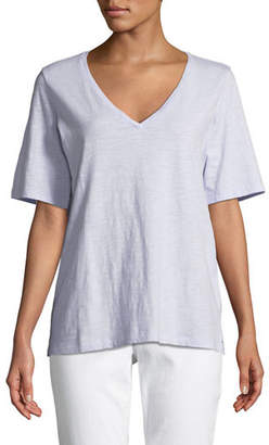 Eileen Fisher Short-Sleeve V-Neck Organic Cotton Slub Jersey Tee