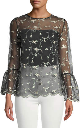 Neiman Marcus 3/4 Flare-Sleeve Floral Mesh Tee