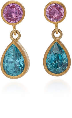Mallary Marks Bon Bon 18K Gold, Pink Sapphire and Zircon Earrings