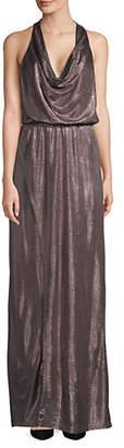 Halston H Metallic Cowlneck Gown