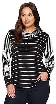 Jones New York Women's Plus Size L/SLV Split Cuff Scrunch Collar