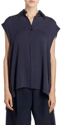 Nina Ricci Silk Sleeveless Button-Front Tie-Waist Shirt