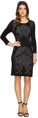 Laundry by Shelli Segal 3/4 Sleeve Jacquard Sweater Dress with Embellishment Women's Dress