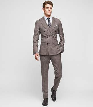 Reiss BELVEDERE SLIM-FIT DOUBLE-BREASTED SUIT Brown