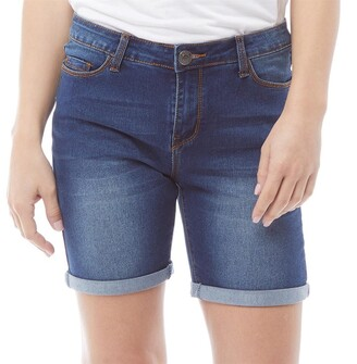 e3fbffe698 Board Angels Womens Stretch Denim Shorts Blue