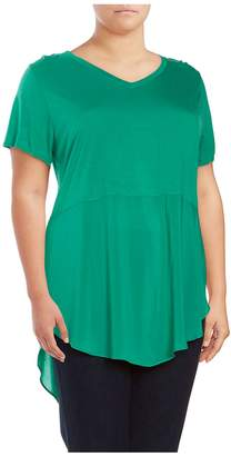 Vince Camuto Women's Mixed Media Top - Green Mint, Size 1x (14-16)