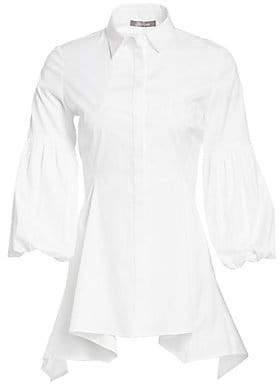 Lela Rose Women's Stretch-Cotton Poplin Puff Sleeve Shirt