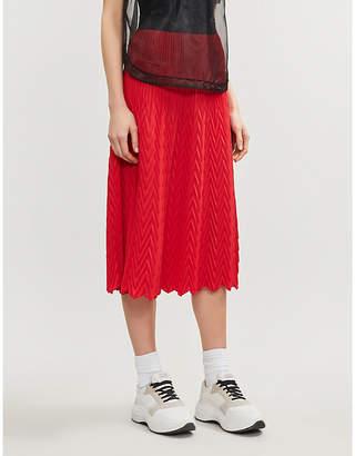 Maje Herringbone pleated maxi skirt