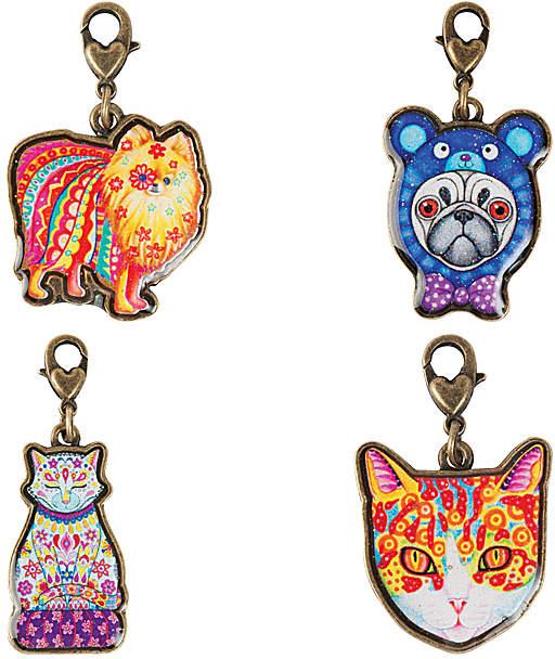 Goldtone Cats & Dogs Thaneeya Clip-On Charm Set