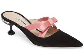 Miu Miu Bow Pointy Toe Mule