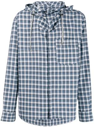 Lanvin checked hybrid hoodie shirt