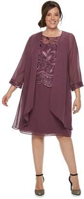 Le Bos Plus Size Sequin Dress & Jacket Set
