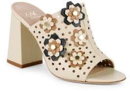 Zac Posen Frances Floral Perforated Leather Mules
