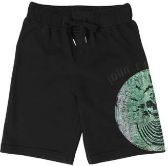 John Richmond Embellished Cotton Sweat Shorts