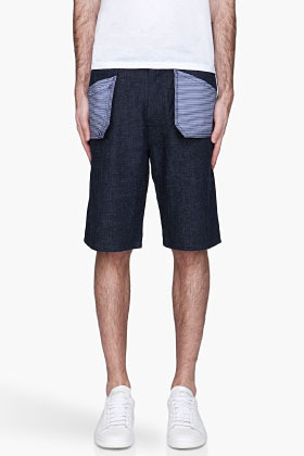 Marni Deep indigo striped floating pocket Jean Shorts